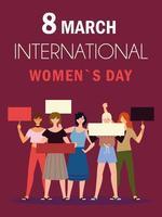 dia internacional da mulher 8 de março comunidade feminina com cartazes vetor