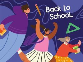 de volta às aulas alunos felizes correndo com a mochila escolar vetor