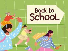 de volta às aulas, alunos correndo para estudar e educar vetor