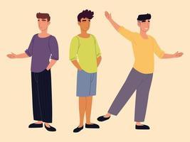 grupo de personagens jovens em roupas casuais vetor