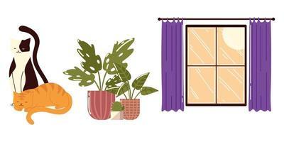 desenho de animais de estimação em vasos de plantas e gatos vetor