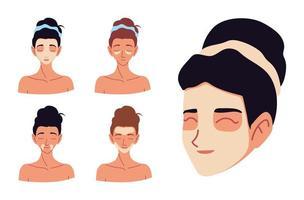 Rostos de mulheres de desenho animado aplicando creme cuidando de sua pele vetor