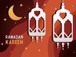 Lanterna de papel decorativo ramadan kareem e fundo estrelado da lua vetor