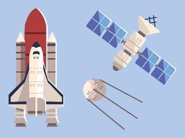 ônibus espacial via satélite para explorar viagens de aventura vetor
