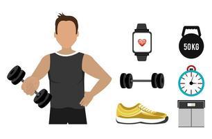 homem com conjunto de ícones de fitness vetor