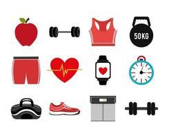 pacote de ícones de conjunto de fitness vetor