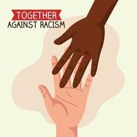 juntos contra o racismo, de mãos dadas, o conceito de vida negra vetor