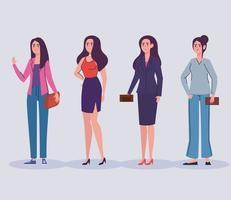 grupo de personagens elegantes de avatares femininos vetor