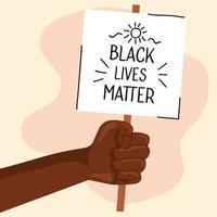 pare o racismo, com mão e faixa, conceito de vida negra vetor