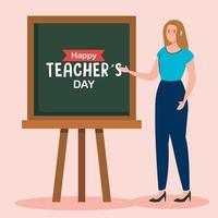 feliz dia dos professores e professora com quadro-negro vetor