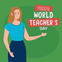 feliz dia mundial dos professores, com a jovem professora vetor