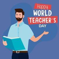 feliz dia mundial dos professores, com homem professor lendo livro vetor