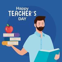 feliz dia dos professores, professor homem com livros e maçã vetor