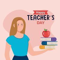 feliz dia dos professores, professora com livros e maçã vetor