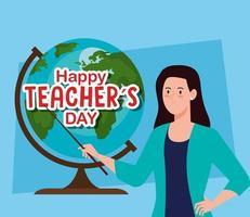 feliz dia dos professores e professora com globo terrestre vetor