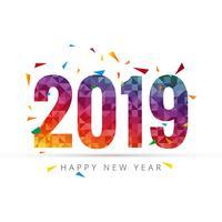 Feliz ano novo 2019 com fundo colorido de confete vetor