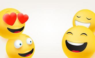 grupo engraçado de personagens. emoticons em estilo 3d fofo vetor