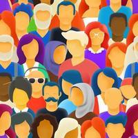 grande multidão de pessoas de diferentes raças padrão sem emenda vetor