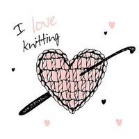 um coração de malha com uma agulha de crochê. eu amo tricô. vetor. vetor