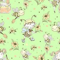 padrão sem emenda com abelhas bonitos. vetor. vetor