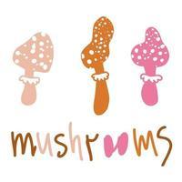 desenhando três cogumelos fofos e uma inscrição vetor