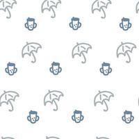 estilo cartoon doodle guarda-chuvas de padrão sem emenda e canecas de bebê vetor