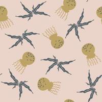 estilo cartoon doodle padrão sem emenda de água-viva e algas marinhas fofas vetor