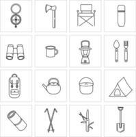 conjunto de ícones para camping, viagens e turismo. coleção de ícones para caminhadas e atividades ao ar livre. tenda, lanterna portátil, bengalas nórdicas, garrafa térmica, binóculos. ilustração vetorial vetor