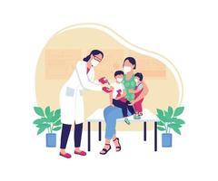 ilustração em vetor conceito plano de vacina pediátrica