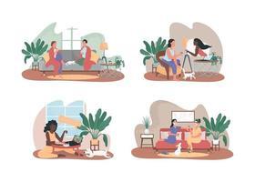amigos relaxam em casa juntos conjunto de banner web 2d vetor