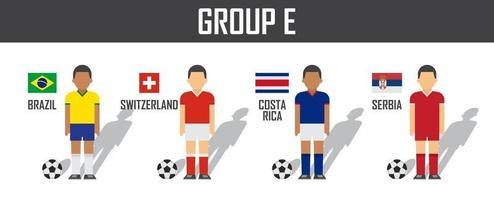 grupo de times da copa de futebol 2018 e. jogadores de futebol com uniforme de jersey e bandeiras nacionais. vetor para o torneio do campeonato mundial internacional.