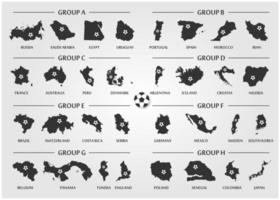 conjunto de grupo de equipe da Copa do futebol ou futebol. silhueta mapa do país com bola. vetor para o torneio do campeonato mundial internacional 2018.