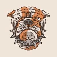 cabeça de cachorro bulldog, adesivo, logotipo, vetor premium