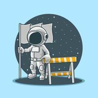 astronautas segurando bandeiras, black hold e roadblocks vetor premium