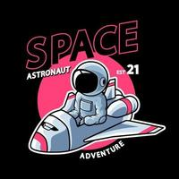 astronauta cavalgando em naves estelares vetor premium