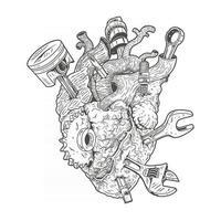 coração humano com equipamento de oficina incorporado, vetor premium