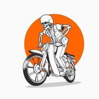 caveira andando de moto clássica, vetor premium