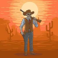 ilustração caveira de cowboy no deserto do texas, vetor premium
