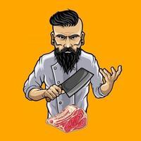 chef de personagem segurando uma faca de açougueiro, vetor premium
