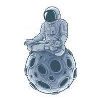astronauta meditação sentado na lua. . vetor premium