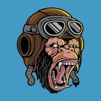 cabeça de gorila usando capacete de piloto, vetor premium