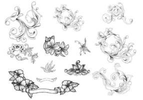 Pacote Vectorial Floreado Ornamental vetor