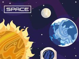 espaço astronomia sol lua e planeta terra cosmos vetor