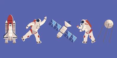 explorador espacial, astronauta em traje espacial satélite e nave espacial vetor