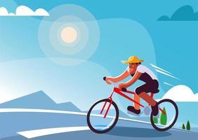 homem andando de bicicleta ao ar livre, estilo de vida saudável vetor