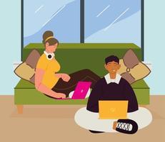 freelancers homem e mulher vetor