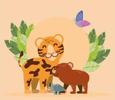 leopardo, capivara e tatu vetor