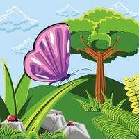 árvore joaninhas e borboleta vetor