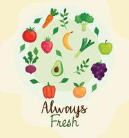 banner frutas e vegetais sempre frescos, conceito de alimentação saudável vetor