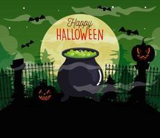 feliz dia das bruxas fundo com abóboras, caldeirão, morcegos voando e lua cheia vetor